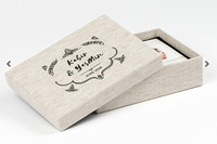 Personalised Linen Photobox with 25 5 by 7 sized prints