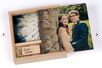 Personalised Wooden Photobox with 25 5 by 7 sized prints & Personalised USB with 60 images